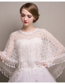 Gorgeous tassels ivory white lace wedding wrap shawl HW-048