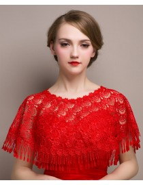 Gorgeous red lace appliques tassel wedding wrap shawl HW-050