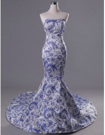 Unique sweetheart China style blue and white porcelain mermaid satin court train couture dresses 2014 PW5-046