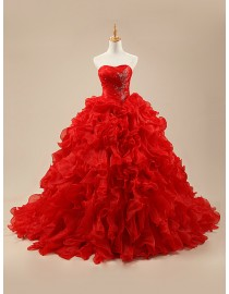 Sweetheart bodice lace appliques sequins beaded red horse hair red organza ruffles puffy evening prom dresses 2014 PW5-059
