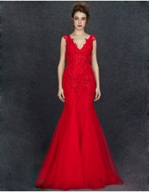Stunning deep v-neck lace appliques swarovski beaded fit and flare red evening prom dresses 2014 PW5-069