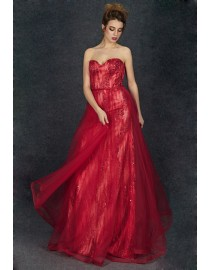 Gorgeous sweetheart lace appliques sequins beaded red evening prom dresses 2014 PW5-071