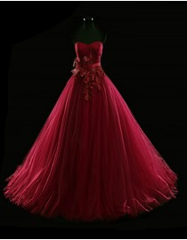 Gorgeous sweetheart lace appliques empire dark red puffy tulle evening prom dresses 2014 PW5-073