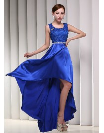 Gorgeous scoop neckline royal blue lace appliques hi-lo satin evening prom dresses 2014 PW5-080