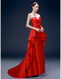Gorgeous sweetheart horse hair puffy skirt red and ivory satin carpet evening prom dresses 2015 PW5-082