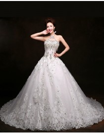 Luxurious halter swarovski and crystal beaded accent  lace appliques court train dubai wedding prom dress 2015 5W-097