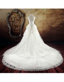 Lacework appliques detachable cathedral lengtg train 2 meters length for wedding dress DT-002