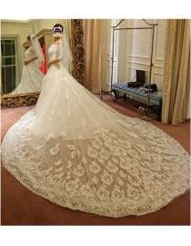 Lacework appliques detachable cathedral length train 3 meters length for wedding dress DT-003