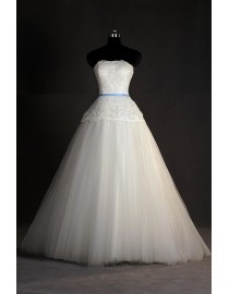 Elegant strapless lace appliques a-line floor length wedding dresses with a skyblue satin sash 5w-191