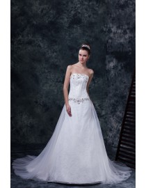 Stunning strapless lace appliques swarovski sequins beaded elongated bodice a-line sweeping train wedding dresses  5w-195
