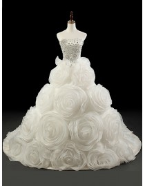 Amazing luxurious sweetheart bodice rosettes appliqued puffy skirt court train wedding dresses 5W-235