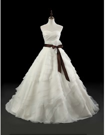 Gorgeous Allure bridal sweetheart layered skirt A-line sweeping train wedding dresses with chocolate satin sash 5W-236
