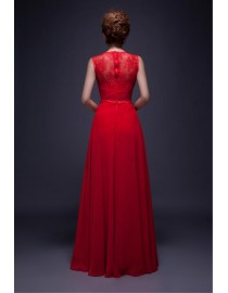 Gorgeous red jewel neckline small lace flowers appliqued sheer back evening prom dresses 2015-42