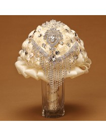 Ivory silk rose rhinestones embellishment and diamonds pendant tear shape fake artificial bridal and maids bouquets