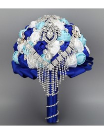 Royal blue aqua and white silk rose rhinestones embellishment and diamonds pendant tear shape fake artificial bridal and maids bouquets