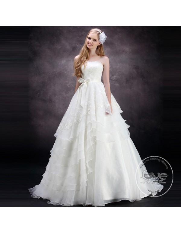 Gorgeous strapless lace appliques layered ruffles skirt a for Wedding dress skirt only