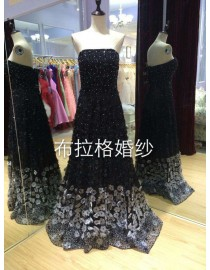 Gorgeous strapless black and white small flowers embellishment sequins beads beaded accent prom dress LW-238