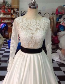 Awesome Sheer Long Sleeves Lace Appliques Illusion Back Black Sash Satin Court Train Ivory White Wedding