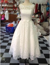 Awesome jewel neckline lace covered tea length '50s vintage short prom wedding dresses LW-65