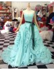 Gorgeous sweetheart tiffany blue organza rosettes skrit court train prom dresses with satin sash  LW-31