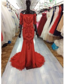 Awesome off shoulder half sleeves red lace appliques feather embellishment hem sheath prom dresses LW-46