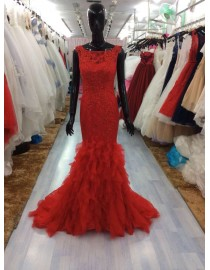 Jewel neckline red lace appliques beaded fit and flare mermaid backless prom dresses LW-47