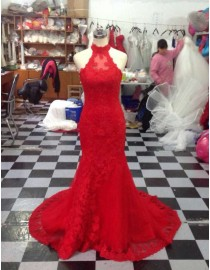 Halter red lace appliques sheath illusion back prom dresses LW-55