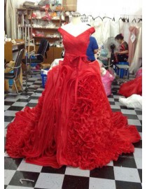 Gorgeous off shoulder red organza rosettes asymmetrical skirt sweeping train wedding prom dresses LW-79