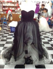 Sweetheart black tulle hi-low prom dresses  LW-82