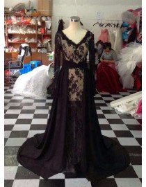 Awesome v-neck sheer long sleeves lace appliques detachable sweeping train prom dresses  LW-89