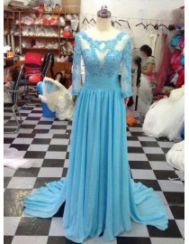 Sheer long sleeves backless turquoise blue lace appliques chiffon mother of the bride prom dresses LW-109
