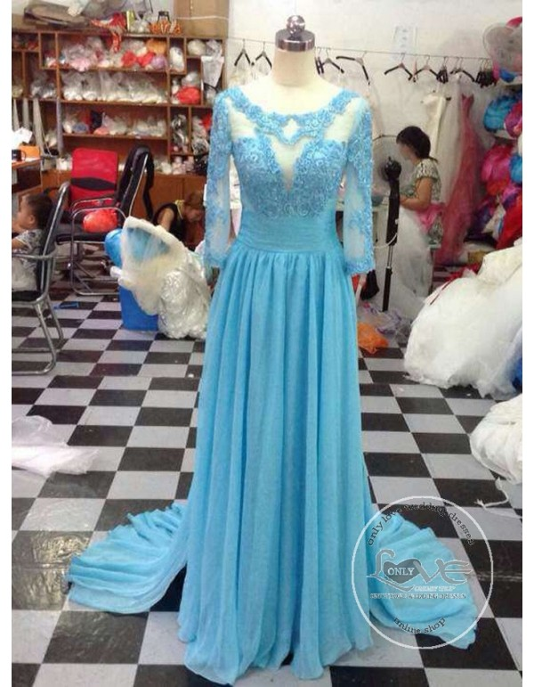 2324eb76abe Sheer long sleeves backless turquoise blue lace appliques chiffon mother of  the bride prom dresses LW ...