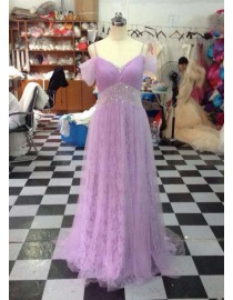 Awesome off shoulder spaghetti lilac lace empire prom dresses LW-112