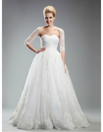 Awesome sweetheart lace wedding dresses a-line with illusion bolero 5W-265