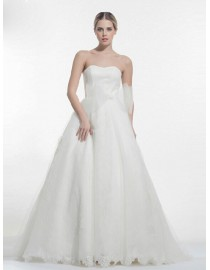 Awesome sweetheart lace wedding dresses a-line sweeping train 5W-260