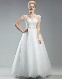 Awesome sweetheart capped wedding dresses swarovski beaded upper tulle skirt a-line 5W-263