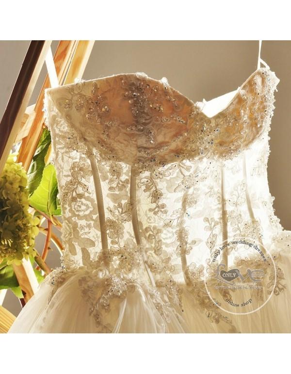 Gorgeous sweetheart illusion waistline crystals beaded wedding ...