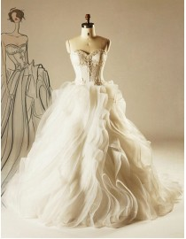 Gorgeous sweetheart crystals swarovski pearls beaded wedding dresses lace upper part and ruffles skirt  5W-327