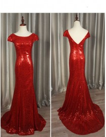 Gorgeous red gold sparkly sequins prom bridesmaid dresses SB-002