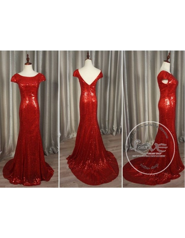 7b796a5f8e669 ... Gorgeous red gold sparkly sequins prom bridesmaid dresses SB-002 ...