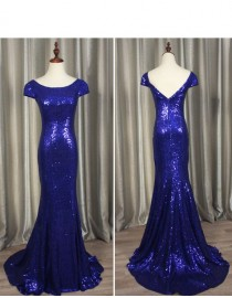 3947e94be9432 Gorgeous royal blue gold sparkly sequins prom bridesmaid dresses SB-004