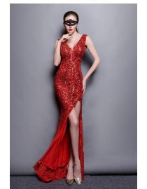 Gorgeous sexy v-neck red sparkly sequins front slit prom evening dresses SB-015