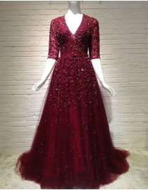 Gorgeous sexy v-neck burgundy red half sleeves sparkly crystals pearls sequins beaded accent prom evening dresses key hole at back LY-533
