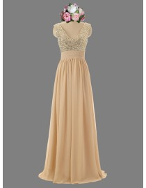 Gorgeous v-neck wheat color sparkly sequins prom bridesmaid dresses SB-039