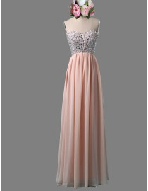 Gorgeous sweetheart rhinestone beaded sparkly sequins white chiffon prom bridesmaid dresses SB-043