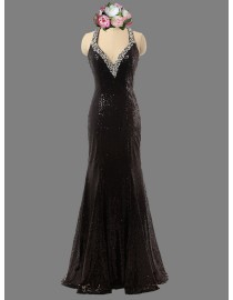 Gorgeous Sexy v-neck straps black sparkly sequins swarovski beaded prom bridesmaid dresses mermaid backless SB-045