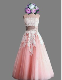 Awesome strapless lace appliques pink short wedding dresses SB-045