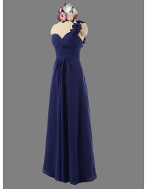 Awesome sweetheart one flower shoulder navy blue bridesmaid dresses SB-049