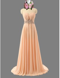 Awesome sweetheart peach bridesmaid dresses rhinestones waistline SB-051