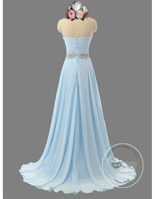 Awesome sweetheart baby blue bridesmaid dresses rhinestones ...